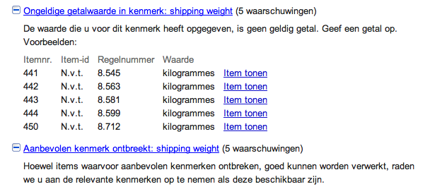Google Shopping Shipping weight