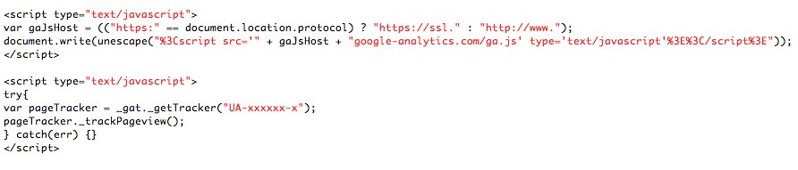 traditionele Google Analytics script