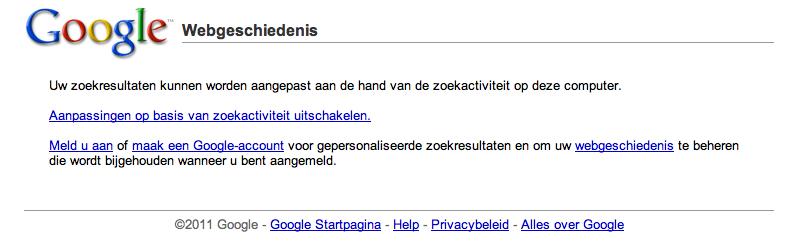Webgeschiedenis wissen binnen Google