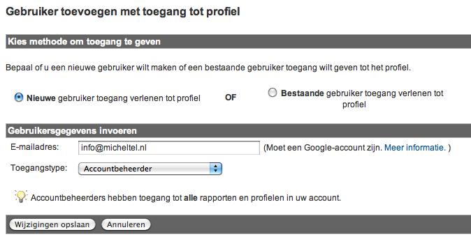 Profiel Google Analytics Toevoegen