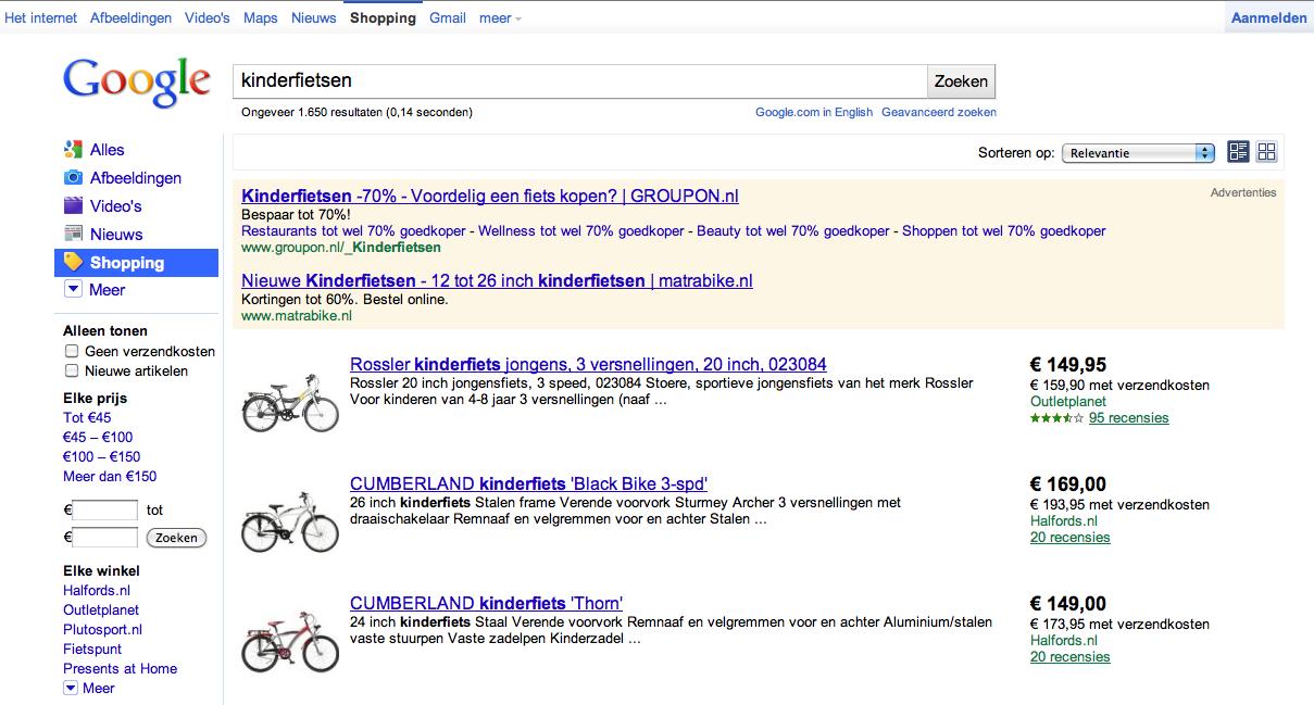 Google Shopping producten
