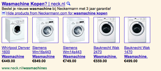 Google Shopping producten in Adwords