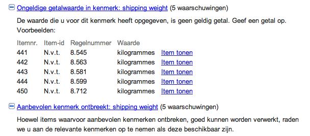 Google Shopping Shipping weight