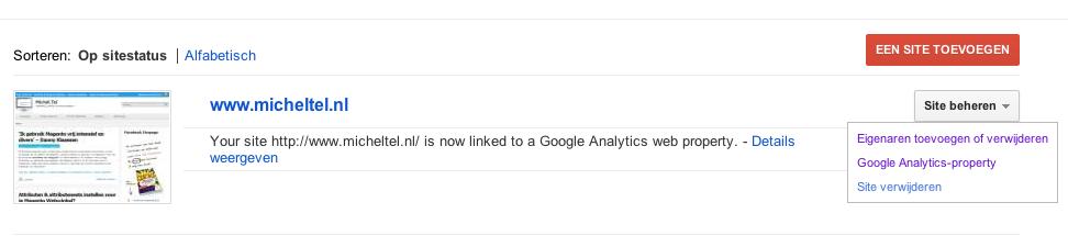 Google Webmaster Tools koppelen