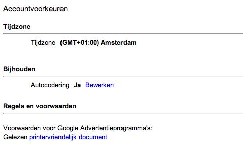 Auto-codering in Google Adwords