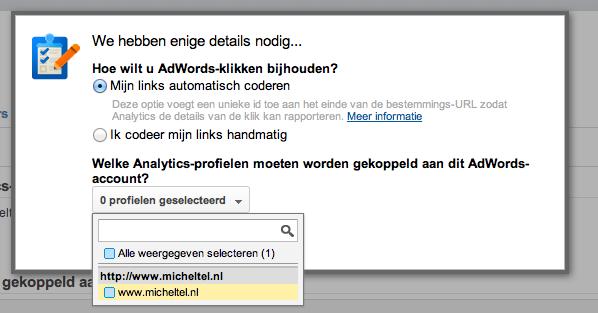 Google Adwords koppelen