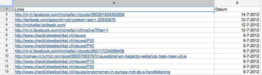 Google Webmaster Tools inkomende links