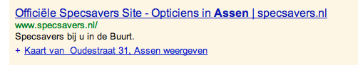 Opticiens advertentie Adwords