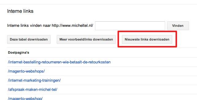 Inkomende links Google Webmaster Tools