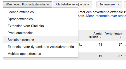 Social extension Adwords