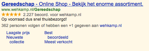 Google Adwords Wehkamp
