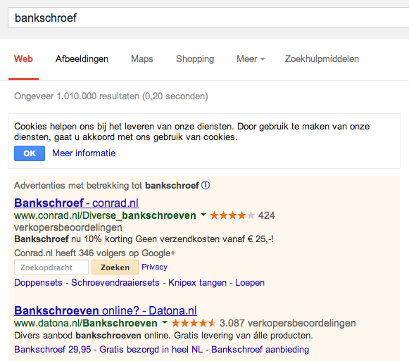 Google Site Search extensie